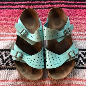 Birkenstock Turquoise Patent-Leather Sandals